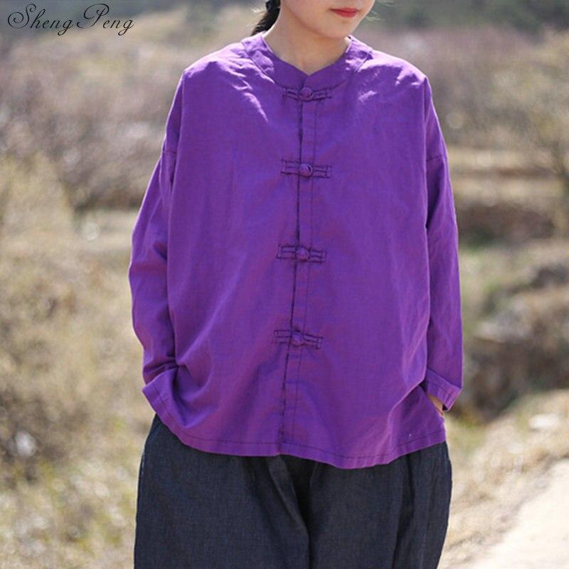 Vêtements chinois traditionnels décontracté hauts amples blouse marché chinois en ligne traditionnel chinois petit haut Q329 - 4