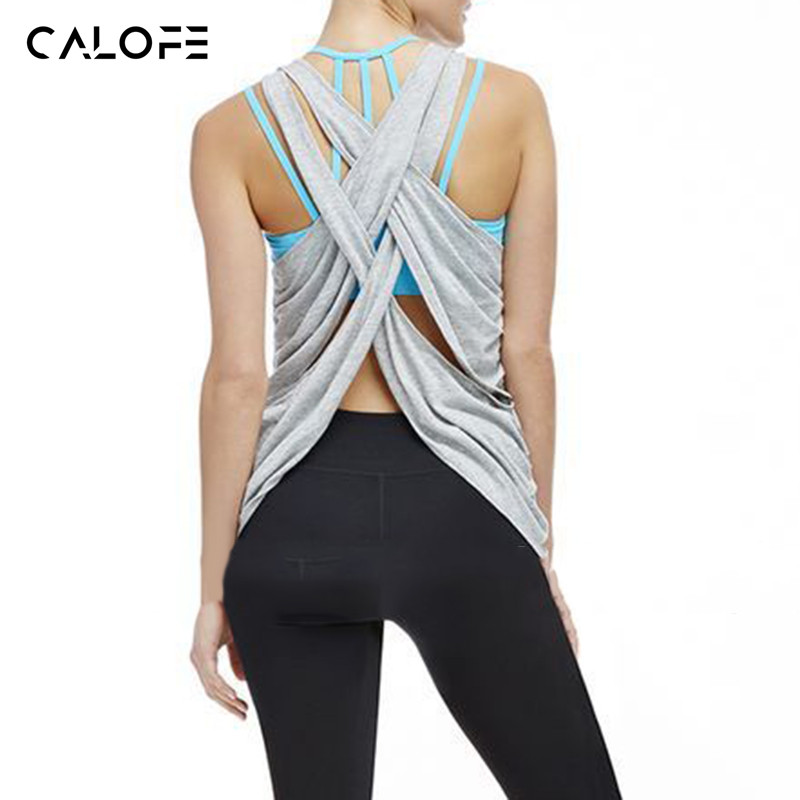 CALOFE 2018 New Cross Straps Running Vests Women Fitness Tank Tops Grey Hollow Sexy Sport Shirts Exercise Workout Jogging Jersey