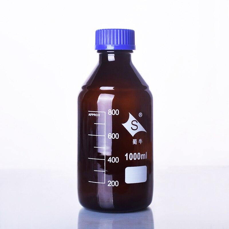 Marrón botella de reactivo, con tornillo azul, vidrio normal, capacidad 1000 ml, graduación viales de muestra tapa de plástico