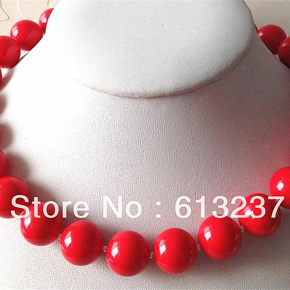 Red round coral 12mm charming artificial beads diy chains necklace elegant women fashion jewelry making 18 inch MY4064