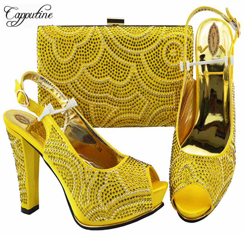 2018 New Italian Decorated With Rhinestone Yellow Color Shoes And Bags Set Summer Style Pumps Shoes