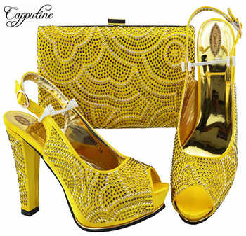2019 New Italian Decorated With Rhinestone Yellow Color Shoes And Bags Set Summer Style Pumps Shoes And Bag Set For Party ZS-01 - DISCOUNT ITEM  27% OFF All Category
