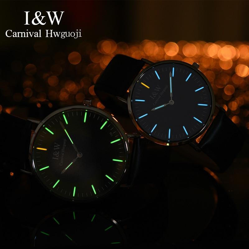 Karneval ICH & W Ultra Dünne Tritium Uhr Männer Lederband Quarz Herren Uhren Top Brand Luxus Wasserdichte Uhr relogio masculino-in Quarz-Uhren aus Uhren bei  Gruppe 1