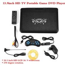 2018 de Alta Definição de 13.9 polegadas HD TV Portátil Game DVD Player 800*480 Resolução de Tela LCD 16:9 110-240 V Plugue DA UE