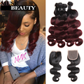 Black Friday Ombre Burgundy Brazilian Body Wave Hair With Closure Muse Beauty 10A 1B 99J Brazilian Hair 4 Bundles With Closure