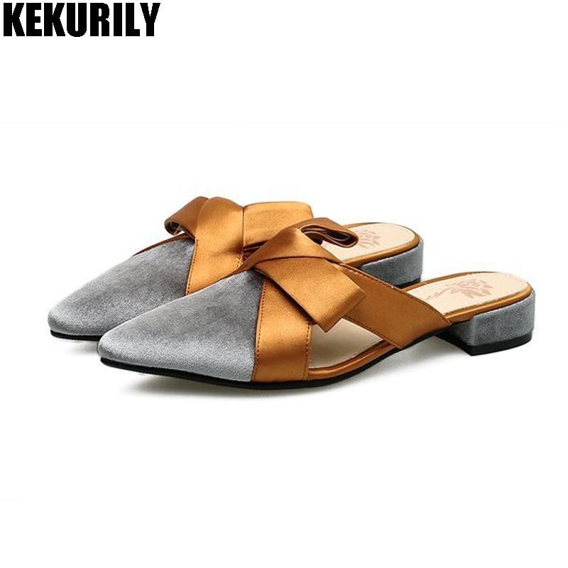 Обувь женские открытые Шлёпанцы для женщин Riband лук Мула дамы Направляющие низкий каблук с острым носком Сандалии для девочек свободного по...