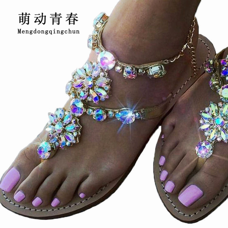 2018 Hot Women Flat Heel Sandals Women Ankle Strap Bohemian Crystal Rhinestone Chain Thong Flip Flops Zapatos Mujer Size 34-46 2018 new bohemian women sandals crystal flat heel slipper rhinestone chain women casual beach shoes size 34 44