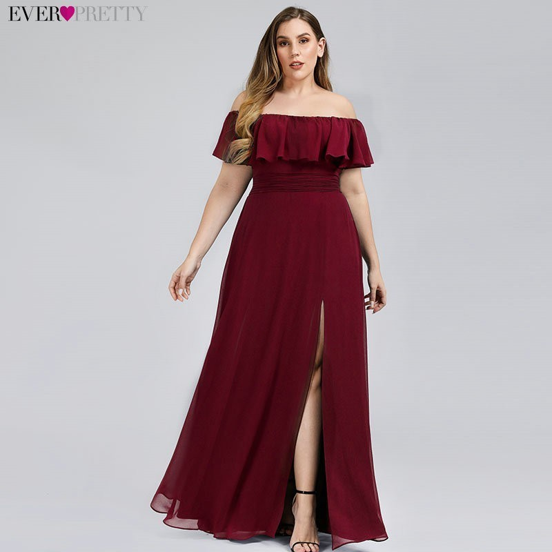 Bridesmaid-Dresses Ever Pretty Wedding Party Pink Plus-Size Neck Boat A-Line for EP00968