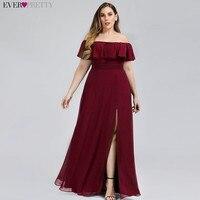 Plus Size Boat Neck Pink A Line Bridesmaid Dresses Vestidos De Madrinha Ever Pretty EP00968 Formal Dress For Wedding Party 2019