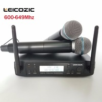 Leicozic 600 мГц 2x100CH профессиональный караоке микрофон Беспроводной Системы GLDX4D портативный беспроводной микрофон Системы Microfono uhf