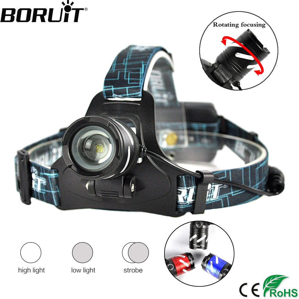 BORUiT B9 XML T6 LED Headlight 3-Mode Zoomable Headlamp USB Rechargeable Head Torch Hunting Camping Flashlight By 18650 Battery