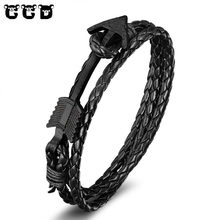 Hot 2017 New Fashion Meaeguet Bangle Men's Anchor Bracelets&Bangles Black Leather Bracelet For WoMen Wristband Rope Jewelry Gift