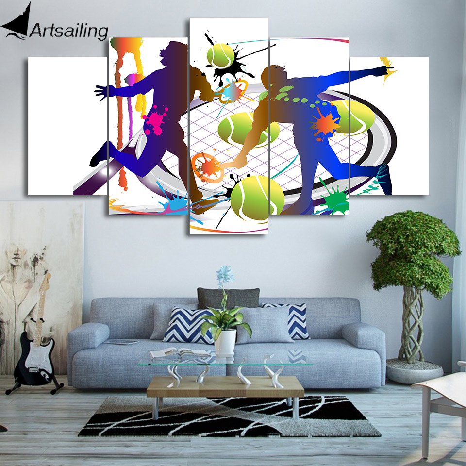 HD Gedruckt 5 Stück Leinwand Kunst Tennis Abstrakt Farbe Malerei ...