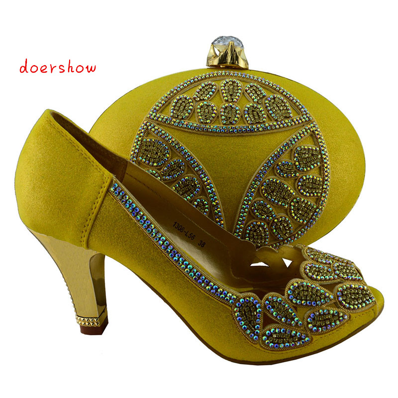 doershow,High class Italian ladies shoes and matching bags for party!hot selling yellow African shoes and bag!KK1-22 doershow african shoes and bags fashion italian matching shoes and bag set nigerian high heels for wedding dress puw1 19