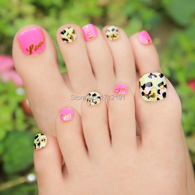 Lovely girls Fashion Pink Toe Nail Stickers 3D Foil Nail decals ...