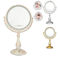 Dimmable LED Double Sided Table Mirror with light 12 Inch led cosmetic mirror lady's 3X magnifying pespelho bath mirror