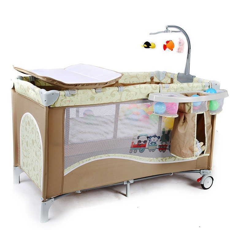 High Quality Multifunctional Infant Baby Cribs With Trolley Netting Diaper Changing  Table Toys Portable Safety Baby Game Beds In Baby Cribs From Mother ...
