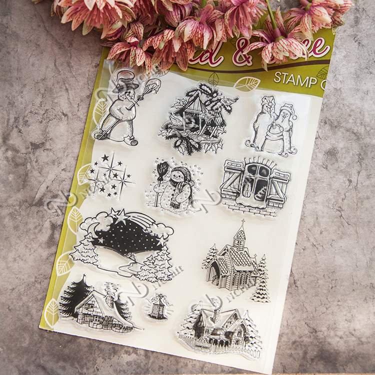 Scrapbook DIY photo cards account rubber stamp clear stamp Winter snowman kid pattern transparent Cartoon seal stamps scrapbook diy photo cards account rubber stamp clear stamp finished transparent chapter wall decoration 15 18