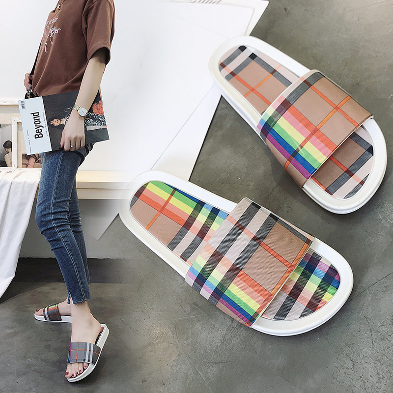 PHYANIC 2018 Summer New Fashion Women Slippers Flat Shoes Beach Slides Gingham Casual Shoes Slip On Slides Basic Sandals