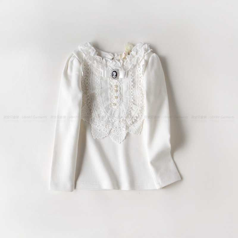 49af7510 ... Thicken Autumn Sweet Baby Kids Girls Lace Pearl T shirt With Velvet  Fashion Bow Tops Tees ...