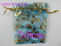 OMH wholesale 50pcs 7x9cm Lake blue roses jewelry Packaging Christmas Wedding Organza voile gift bag BZ108