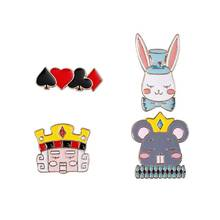 Harajuku Cute Cartoon animal Rabbit Mouse enamel pin badge brooch Lapel for Denim Jean shirt bag Jewelry kids Gifts