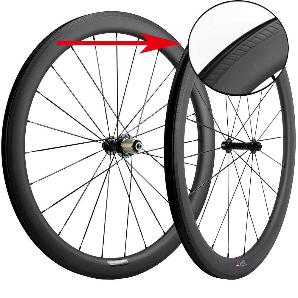700C Carbon Clincher Wheelset With Special Braking Surface U shape Carbon Road Bike Wheels