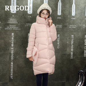 Image 2 - RUGOD Elegant long padded Parka coats slim Fashion 2019 button pocket long Down jackets women Thicken Winter Warm Outwear female