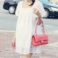 100% Algodão de Alta Qualidade Vestir Roupas de Maternidade Para Mulheres Grávidas Moda Collar Praça Oco Out Mini Vestidos 336