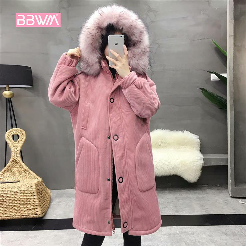 Korean version of the large size women s winter dress micro fat loose thick fur collar