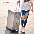 Aluminum frame+PC Shell Luggage,Scratch-resistant Matte Suitcase,vintage Carry-Ons,Metal Carrier,Groove design Travel Case