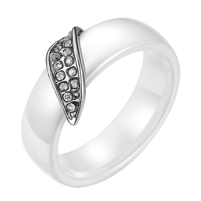 brixini.com - White Stainless Steel Rhinestone Tree Leaf Rings