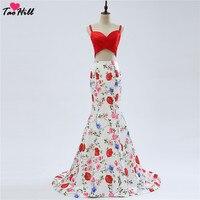 TaoHill Сексуальная шея возлюбленной Русалка складки Спагетти из двух частей платье бантом сзади цветок печатных официальное платье подружки