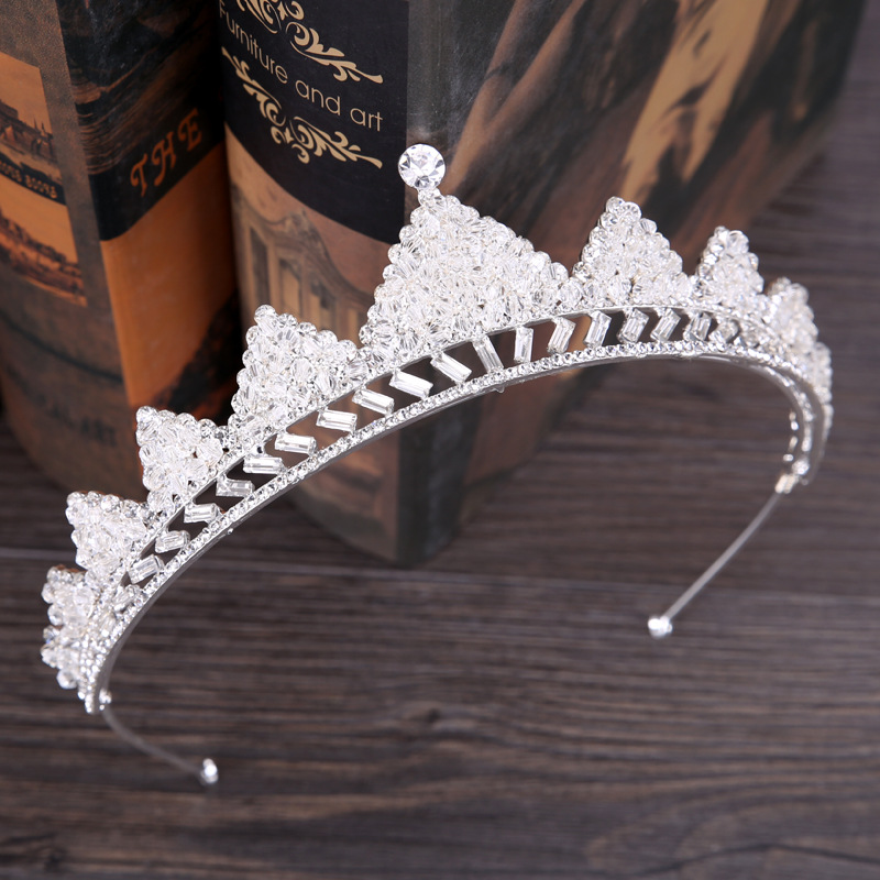 Hot Fashion Bridal Tiara Crown Silver Handmade Crystal Hair Accessories Banquet Headdress Headband Award Crown Tuxedo Headwear
