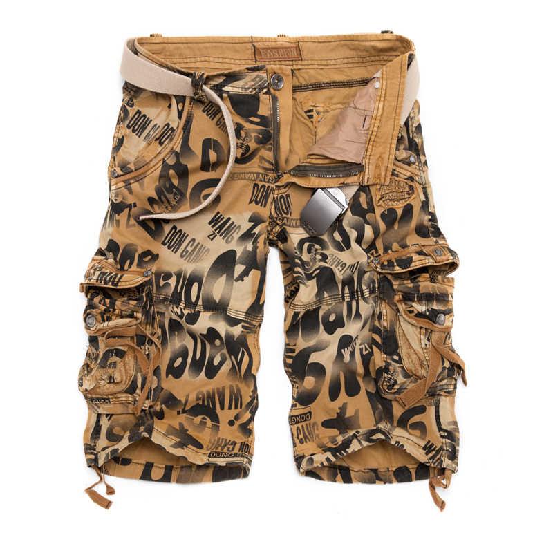 2019 verão novo tamanho grande 29-40 solto masculino militar carga shorts exército camuflagem shorts