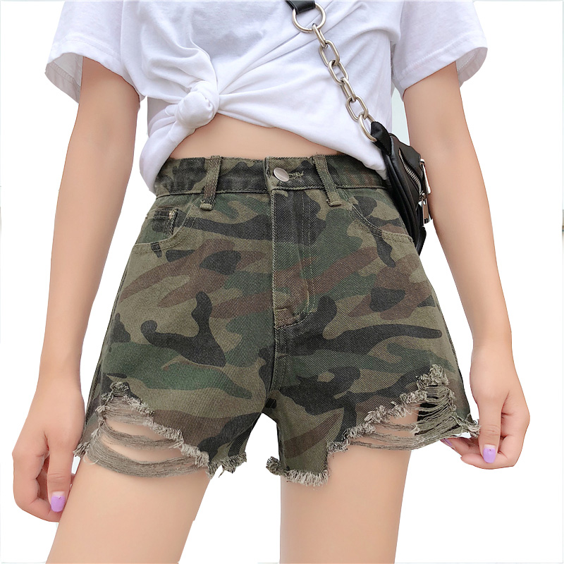 Summer Shorts for Women 2018 Military Army Green Camouflage Ripped Ladies Casual Shorts Summer Elastic High Waist Short Femme