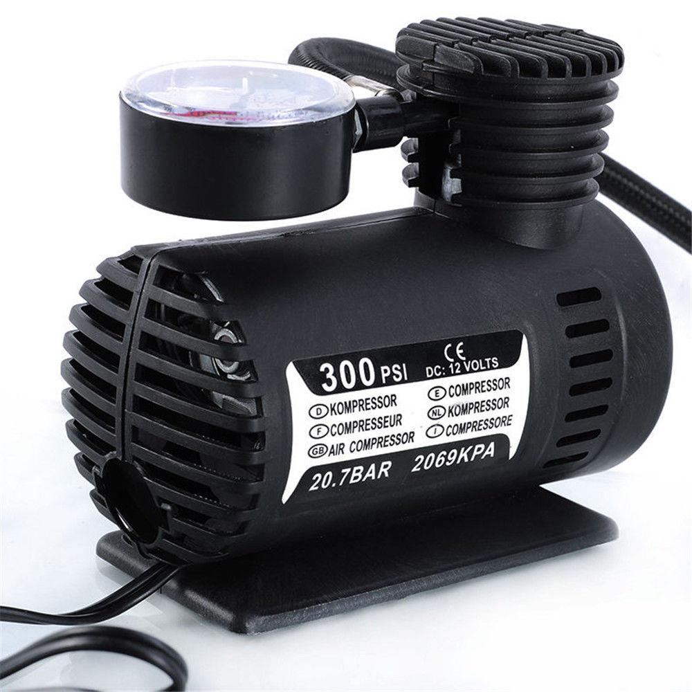 universal 12v mini portable mini air compressor 300 psi bike car tyre inflator pump cigarette. Black Bedroom Furniture Sets. Home Design Ideas