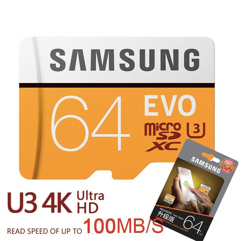 SAMSUNG Novo U3 Micro SD 256 GB/128 GB/64 GB SDXC U1 32 GB/16 GB SDHC Class10 TF CF Cartão De Memória C10 Microsd Cartões de Memória Flash Grátis