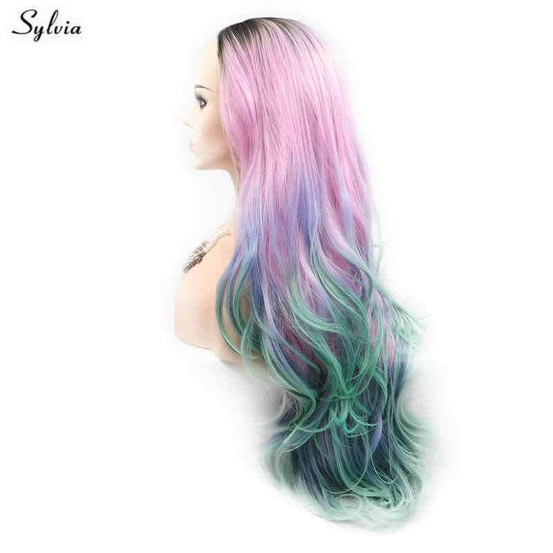 Sylvia, цвет радуги, парики, темные корни, розовый, синий, зеленый, парик, волнистые волосы, синтетический парик на кружеве для женщин, косплей, боковая часть