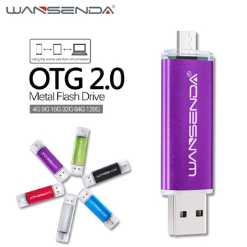 WANSENDA USB 2.0 OTG USB Flash Drive for Android phones 128GB 64GB Pen drive 32GB 16GB micro usb memory stick 8GB 4GB pendrive USB-флеш-накопитель