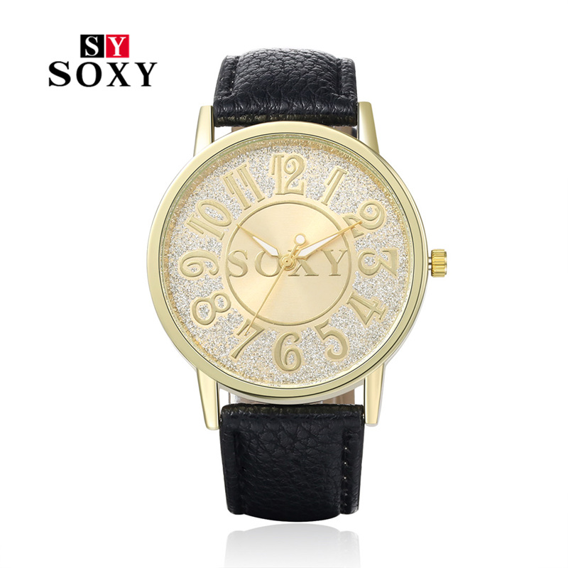 Hot Sale Luxury Brand SOXY Watches Women Fashion Casual Leather Watch Women Crystal Wristwatch Female Relogio Masculino PIC0002