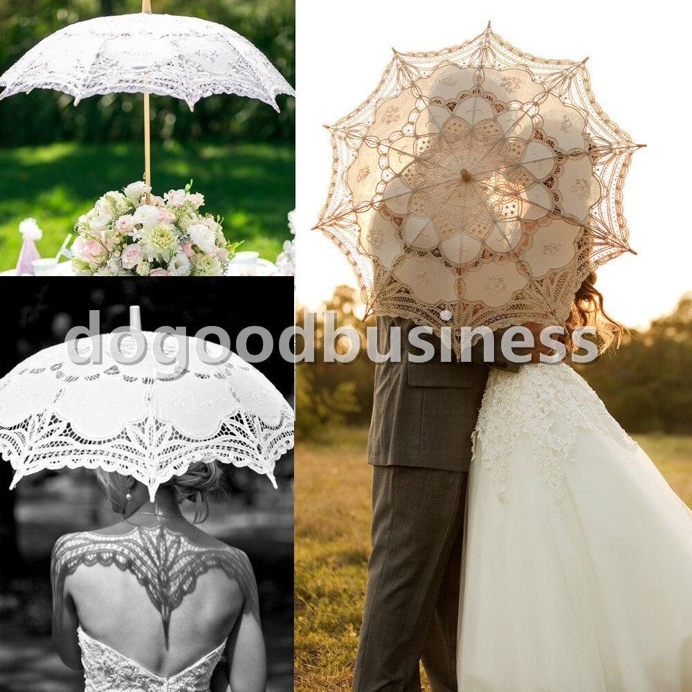 Battenburg Lace White Umbrella Wedding Bridal Lace Parasol Vintage Umbrella For Bridal