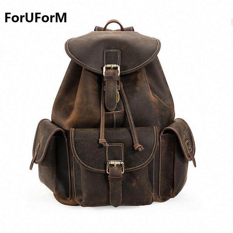 Vintage Crazy Horse Genuine Leather Backpacks Men's Backpack Saddle Travel Backpack school bag Men Rucksack Bagpack LI-1320 new arrival 2016 classic vintage men backpack crazy horse genuine leather men bag travel cowhide backpacks school bags li 1320