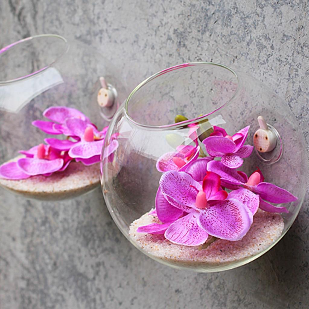 nueva botella de vidrio florero colgante de pared para flor de la planta terrario container