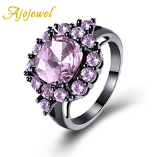 Ajojewel Wedding Band Size 6-9 Wholesale 4 Color Big Cubic Zircon Flower Ring For Women
