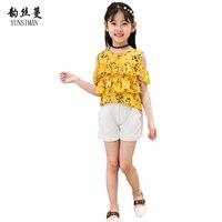 2018 Summer Girls Set Clothes Kids Flower Print Top Pant 2 Piece Kids Fashion Sets Girls
