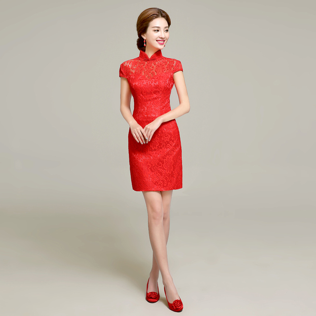 Red Short Paragraph Slim Lace Dress The Bride Toast Clothing Short
