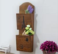 Vintage Postoral Style Wooden Letter Box Wooden Storage Case Sundries Container Wall Hook 2Layer Flower Vase