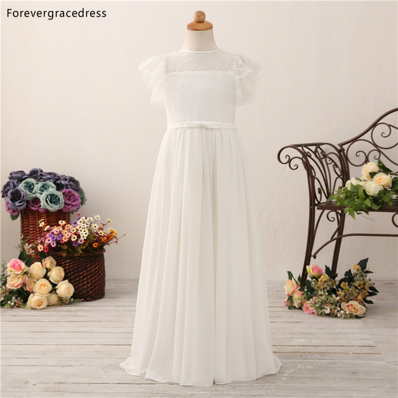 Forevergracedress Lovely   Flower     Girls     Dresses   2019 A Line Jewel Neck Chiffon Lace Short Sleeves Kids Pageant Children Gowns