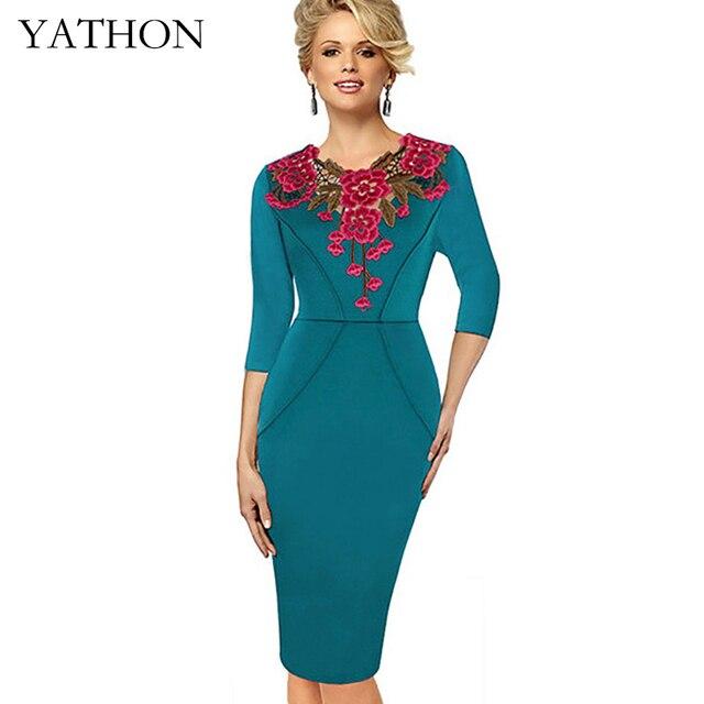 Yathon pin up floral embroideryied häkeln vintage kleider frauen ...